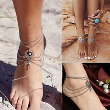 New Boho Turquoise Beads Tassel Chain Anklet Barefoot Sandals Beach Foot Jewelry