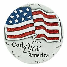 """Cement God Bless America Stepping Stone 10.25"""" Americana Decor Wall Mountable"""