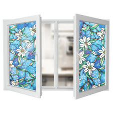 45cm*100cm DIY Blue Orchid Window Film Privacy Protective Stained Glass Sticker