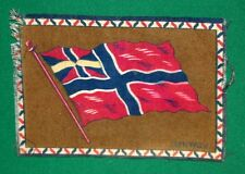 """Vintage Cigar Box Felt - Norway Flag - 8"""" by 5"""" w Great Coloring & Free Shipping"""