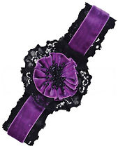 Gothic Purple and Black Flower Choker Necklace Vintage Fancy Dress Ladies New
