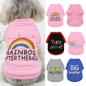 Warm Pet Cat Dog Sweatshirt Small Dog Clothes Vest Jumper with Cute Pattern Pink