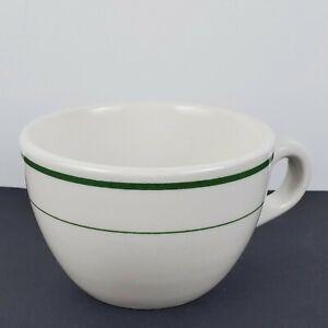 Set of 2 Buffalo China Coffee Cups Green Stripe Restaurant ware 8oz