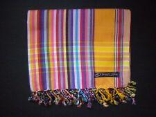 Kikoy Kikoi Orange Gold Multi Africa Cotton Sarong Throw Scarf Kenya Swimwear