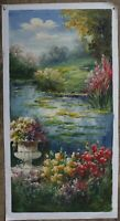 Art Impressionism oil painting on canvas landscape garden hand-painted 24x48""