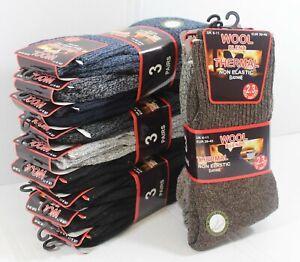 Mens Non Elastic Wool Blend Sock Loose Top Thermal Socks 2 TOG Sox Lot Size 6-11