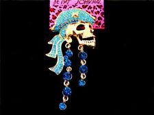 Betsey Johnson Woman's Crystal Blue Pirate Skull Head Brooch Charm Girls Gift