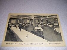 1930s NATURAL FOOD DINING ROOM BERGHOLZ CLINIC MILWAUKEE WI. VTG POSTCARD