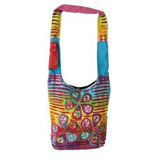Rising International Handmade Rainbow Flower Patchwork Hippie Shoulder Bag Purse