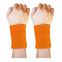 "4"" Sweat Wrist Band Sports Aerobics Badminton,Cricket Wristband Orange PAIR"
