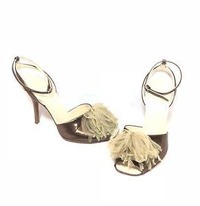 Helmut Lang Vintage Archival Bronze Metallic Fabric Puff Leather Heels 37 7