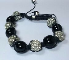 SHAMBALLA BEAD BRACELET 10mm Gold Black Crystal 6 Pave Disco Ball Hip Hop New