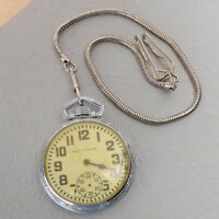 Vintage West Pointer Pocket Watch With Chain For Parts Repairs Spares Watchmaker