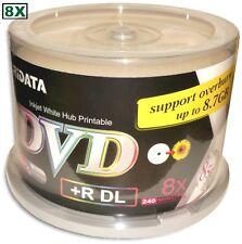 50-Pak RITEK/RIDATA Double-Layer =WHITE INKJET HUB PRINTABLE= 8X 8.5GB DL DVD+Rs