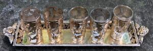 Vintage Mexican  Sterling Silver Overlay Shot Glasses & Sterling Silver Tray