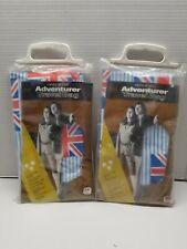 SUPER RARE VINTAGE MATCHING MEN'S & WOMEN'S VINYL GARMENT BAG WITH BRITISH FLAG