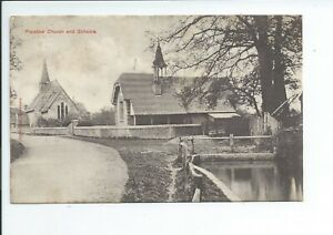 Printed postcard of the church and school in Plaistow West Sussex good condition