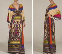 Women Traditional African Print Party Dresses V-neck Beach Long Dress