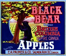 Salmon Arm B.C.Canada Empire Black Grizzly Bear Apple Fruit Crate Label Print