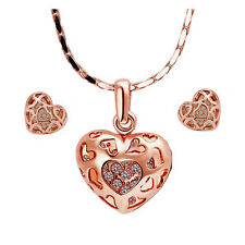 18k Rose Gold KGP Wedding SWAROVSKI  Crystals Heart necklace/earrings set S351