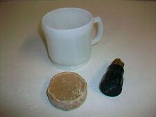 Vintage Shaving Lot Milk Glass Mug Cup Rubberset Brush & Bar of Soap