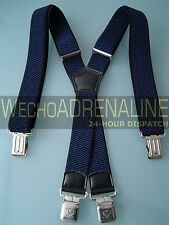 MEN'S MEN BRACES Suspenders NAVY BLUE HEAVY DUTY 40mm X-shape BIKER CONSTRUCTION