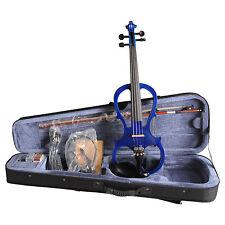 4/4 BLUE Electric Violin Style VE008B FOAMED CASE BOW HEADPHONE ROSIN
