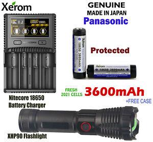 Flashlight + Protected XEROM Panasonic GAP 3600mAh Li-Ion Rechargeable + Charger
