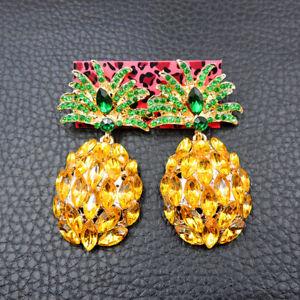 Betsey Johnson rare Alloy Rhinestone crystal Yellow Pineapple drop Earring