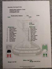 1960-61 Scottish Cup Final Dunfermline Athletic v Celtic Matchsheet