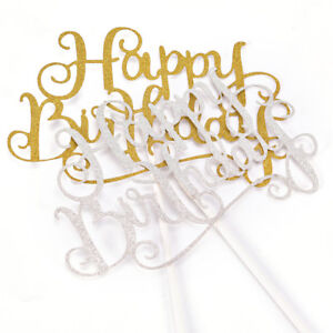 Party Cake Topper Shiny Happy Birthday Letter Anniversary Supplies Decoration^qi