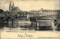 Magdeburg Sachsen-Anhalt 1903 Strombrücke Brücke Fluß Elbe Stadtansicht Bauwerk