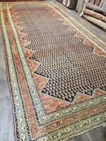 Circa 1880s ANTIQUE handwoven  rug ESTATE SALE size 8'x19'  decorative blue