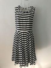 VILA Sz S Navy Blue & White Striped Sleeveless Dress Swing Skirt Mid Length