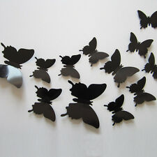 3D Butterfly Wall Stickers Wedding Decor DIY Party Home Decorations 24pcs Black