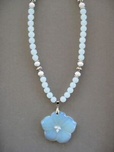 Lovely Carved Opal Flower Pendant Necklace with Opal Beads