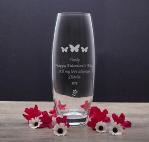 Engraved Glass Bullet Vase 60th 70th 80th 90th 100th Birthday Gift Present Ideas