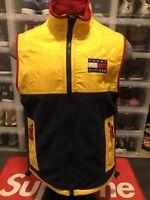 🧥Vintage Tommy Hilfiger Men's Color Block Vest Coat Jacket Yellow Blue Size S