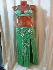 Egyptian Belly Dance Costume bra & Skirt Professional Dancing Green Silver Set