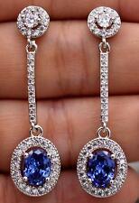 18K White Gold Filled- 1.8'' Oval Navy Blue Topaz Zircon Gem Party Drop Earrings