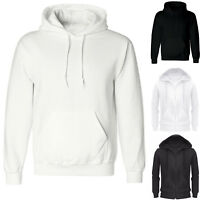 Mens  Hood Sweatshirt Pullover Hoody Black White Zip Up Plain Design Casual