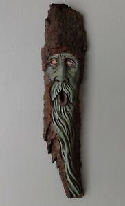wood spirit carving original forest spirit, green man , ooak, OTTER