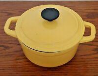 Vintage Martha Stewart Cast Iron Enamel pastel yellow Red 2.5 QT Stock Pot