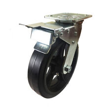 8 X 2 Heavy Duty Rubber On Cast Iron Caster Swivel With Total Lock Brake