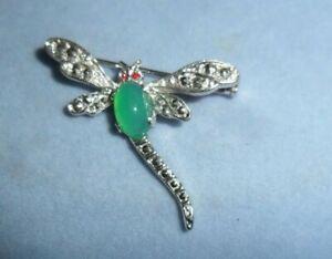 pretty green agate stone & marcasite dragon fly brooch