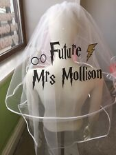 Personalised Hen Party Veil Harry Potter Inspired Glitter Print Bride To Be   👰