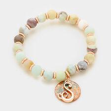 Monogram Initial S disc Script Bracelet Semi-precious stone stretch beaded