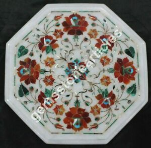 """12""""x12"""" Marble White Coffee Table Top Carnelian Marquetry Floral Fine Arts Décor"""