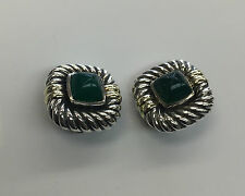 Vintage David Yurman 18k Yellow Gold/ .925 Silver Jade Cable Earrings Clip-on