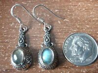 Labradorite with Intricate Accents 925 Sterling Silver Dangle Earrings